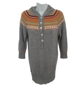 Sweater Project Hooded Gray Knit Sweater Dress